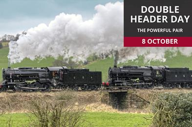 Enjoy the sight and sound of two locomotives working together.