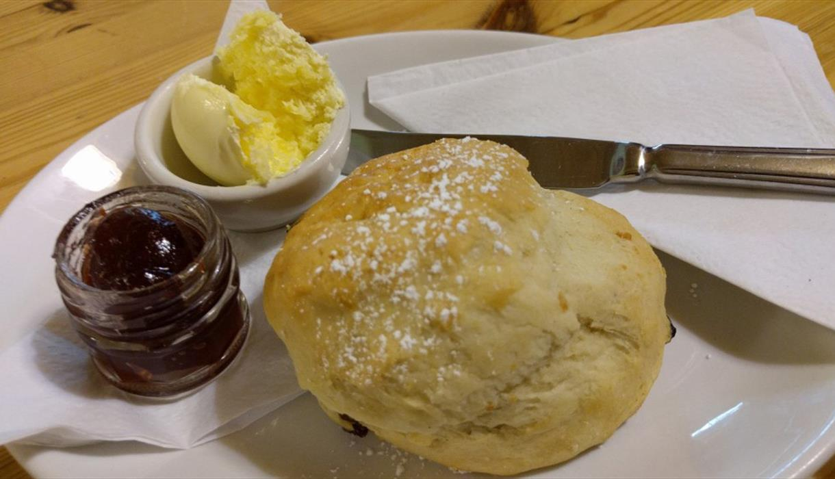 Enjoy a homemade hot scone