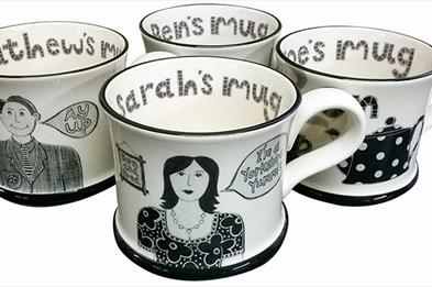 Mugs made by Moorland Pottery