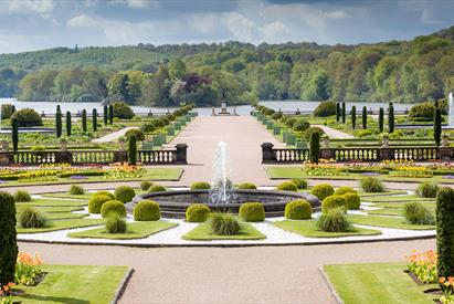 The Italian garden with lake beyond at the Trentham Estate, Stoke-on-Trent.